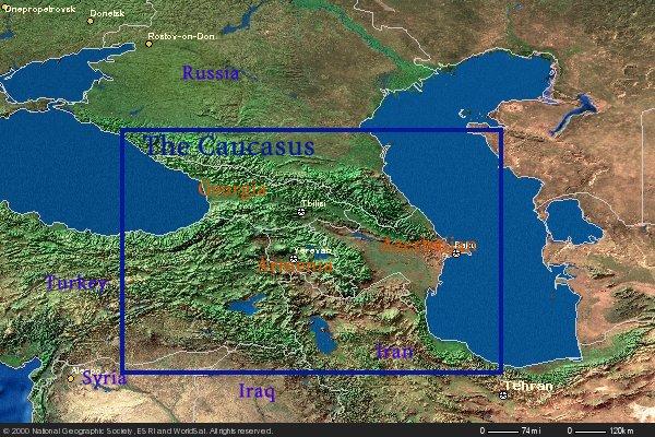 Caucasus Mountains Location